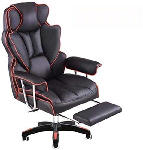 Sillas de Oficina Las sillas de Escritorio, Silla de la computadora ergonómico Silla de Oficina Ajustable E-Sports Gaming Chair Jefe Silla giratoria Sofá (Color : Red with Footrests)