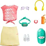 Barbie Fashions Roxy Clothing Set, Outfit Inspired by Roxy Includes Pink Graffit Tee & Yellow Mini Skirt, Hat, Sunglasses, Sandals, and Accessories, Gift for Kids 3 to 8 Years Old