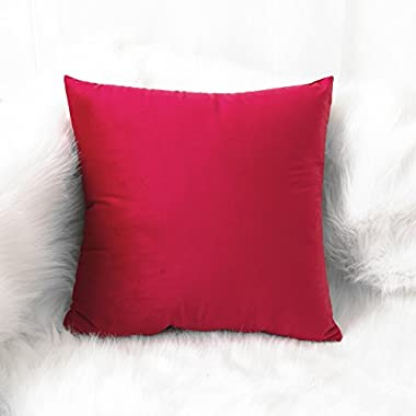 SLOW COW Velvet Soft Solid Decorative Throw Pillow Cover, Handmade Cozy Cushion Cover for Living Room, 18x18 Inch, Ruby Red.