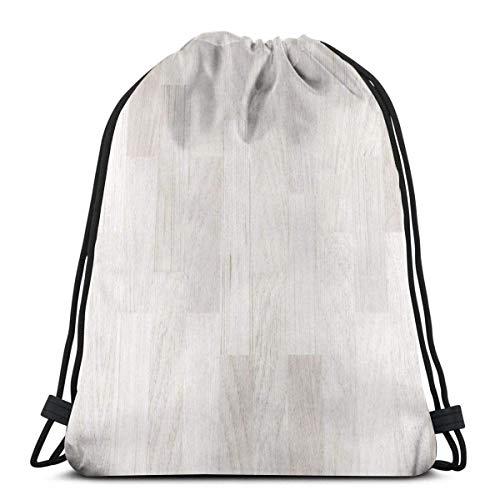 LemonSisterShop Kordelzug Rucksack Holzboden Weiß Parkett Hintergrund Leinwand Bulk Sackpack für Männer Frauen String Sports Gym Bag