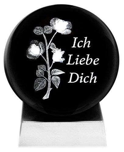 Preisvergleich Produktbild Kaltner Präsente Stimmungslicht EIN ganz besonderes Geschenk: LED Kerze / Kristall Glaskugel / 3D-Laser-Gravur Rosen ICH Liebe Dich