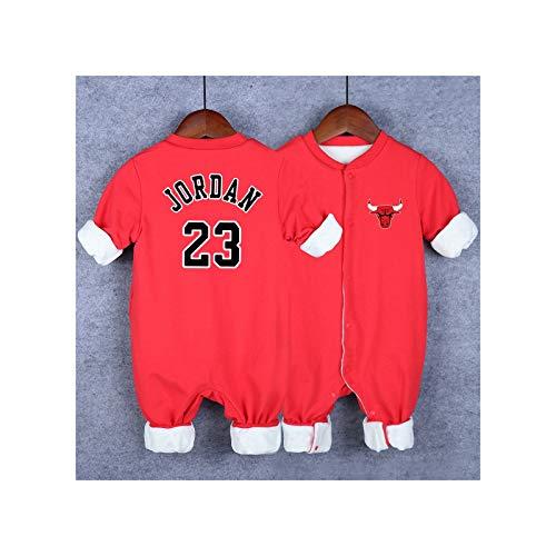 GHQYP Pagliaccetto Neonato No.23 Michael Jordan Idee Regalo per i Neonati,Body Neonato Caldo Cotone/Vestiti Neonato Maschio Estate,Red5,66CM(3-6Months)