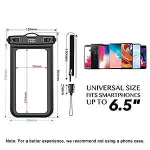 YOSH Funda Impermeable Móvil Universal 2 Unidades, IPX8 Certificado, Bolsa Sumergible para iPhone X 8 7 6s Samsung J5 J3 J7 S7 S8 S9 A5 Huawei P20 P10 P9 Lite y Otros Móviles hasta 6,5 Pulgadas