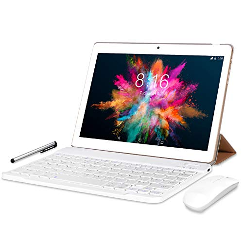 Tablet 10 Pollici 4G LTE WiFi BEISTA-Android 9.0,4GB RAM 64GB ROM,Processore quad-core,GPS,OTG,Corpo in metallo,Oro