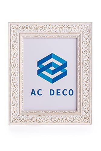 AC DECO Marcos de fotos15x20 blanco de madera Natural Hechos a Mano, fabricado en España. Marcos de fotos originales, decoración de hogar vintage. Portaretrato para fotos (Blanco Decapé)