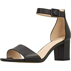 Idea Regalo - Clarks Deva Mae, Scarpe con Cinturino alla Caviglia Donna, Nero (Black Leather-), 38 EU
