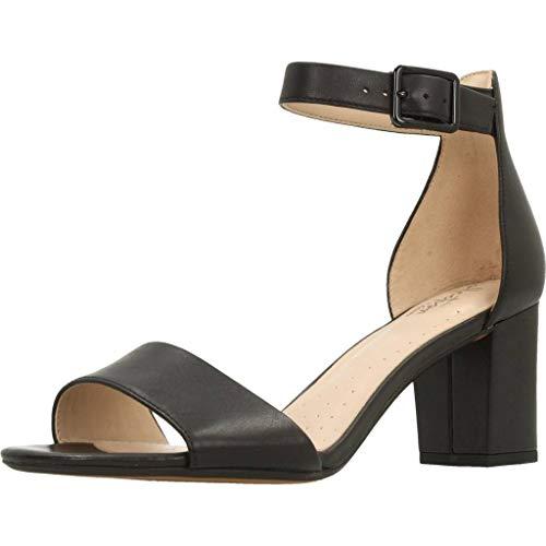 Clarks Deva Mae, Zapatos con Tacon y Correa de Tobillo Mujer, Negro (Black Leather-), 39 EU