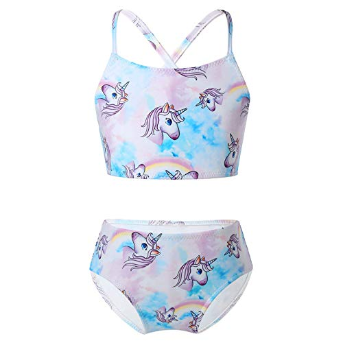 Aislor Costumi da Bagno Bambina Unicorno Set di Bikini Spiaggia con Stampa Cavalli Arcobaleno Costume da Mare Ragazze Abiti Estate Piscina + Mutandine Bambine Swimwear Viola 9-10 Anni