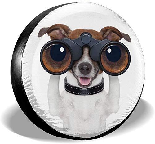 Däcköverdrag Rolig hund med kikare Reservdäckskydd Vattentätt dammtätt universalt hjulöverdrag Passar för Jeep, släpvagn, RV, SUV, lastbil och många fordon, 14 tum