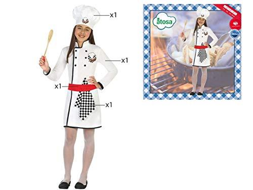 Cisne 2013, S.L. Disfraz de 4 Piezas para Carnaval Infantil niña de cocinera. Color Blanco. Talla 3/4 años de niño y niña. Cosplay niña Carnaval.