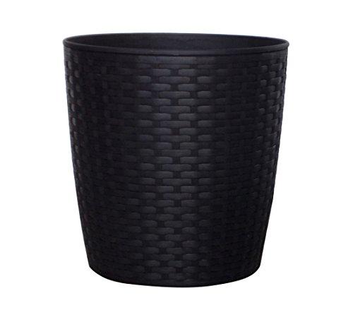 Dehner Vaso in plastica, Ø 25cm, Altezza 26cm, Effetto polirattan, Nero