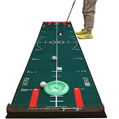 Aucuda Putting Green Indoor Golf Putting Mat- 4 Speed Golf Green Simulator -10 ft x 20 in,Green