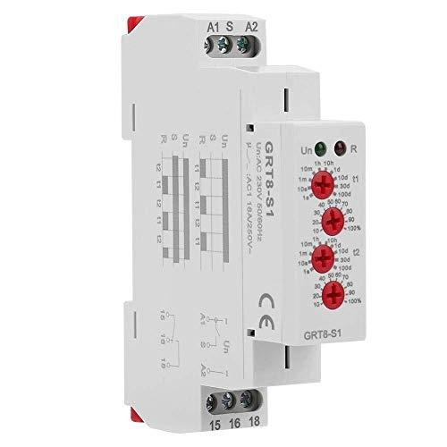 HUAHUA Cicly Timer Relay Tiempo de relé, GRT8-S1 AC 230V Mini asimétrica Ciclo del Temporizador de Encendido/Apagado Ciclo de repetición de Tiempo de retransmisión Se Utiliza for el Ciclo de Control