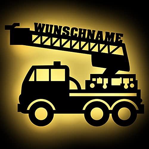 Led Feuerwehr Wagen - Feuerwehrauto Auto Name Geschenk Deko Feuerwehrzimmer Kinderzimmer Geburtstagsgeschenk Junge Nachtlicht Schlummerlicht Wand-Lampe