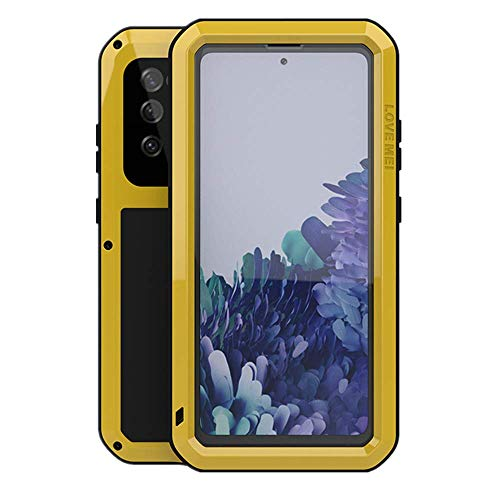 LOVE MEI for Samsung Galaxy S20 FE 5G Case,Outdoor Sports Military Heavy Duty Metal Cover Waterproof Shockproof Dustproof Full Body Rugged Case with Built in Tempered Glass Screen Protector(Yellow)