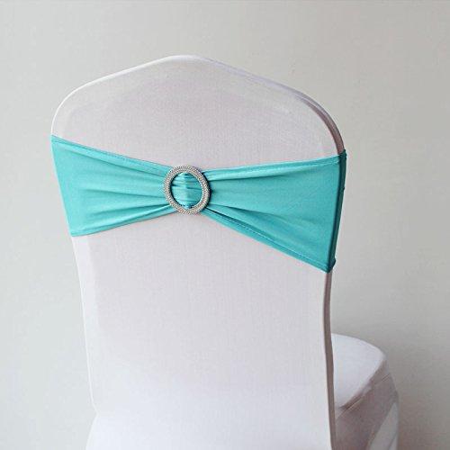 Babat 10x Stretch Stuhlschleife mit Brosche in türkis Schleifenbänder für Stuhlhussen
