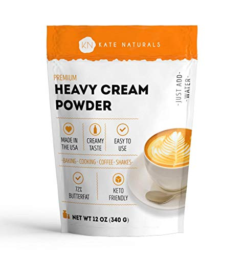 Heavy Cream Powder for Whipping Cream, Sour Cream, Butter, and Coffee. Keto Friendly and Gluten Free (12oz)
