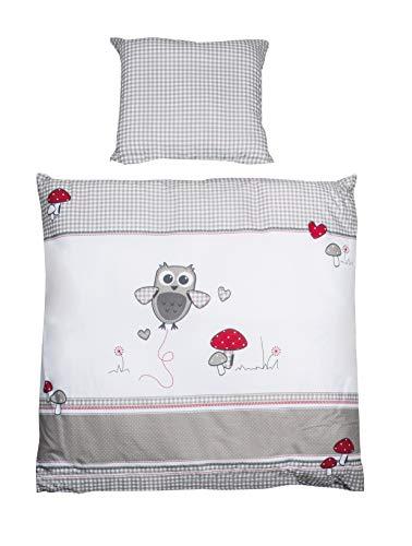 roba Wiegenbettwäsche, Wiegenset Kollektion 'Adam & Eule', Baby Bettwäsche 80 x 80 cm (Decke & Kissen), 100% Baumwolle, mehrfarbig, 2-teilig