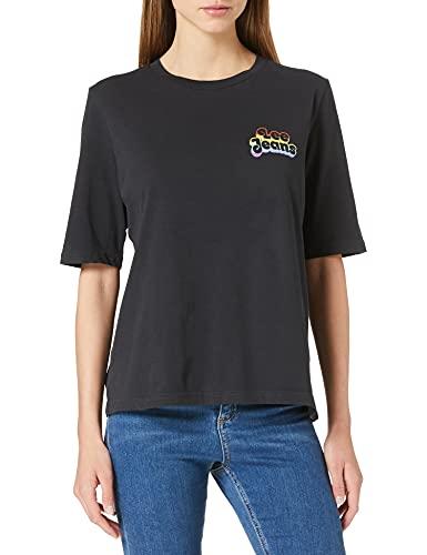 Lee Pride tee Chest Graphic Camiseta, Negro Lavado, M para Mujer