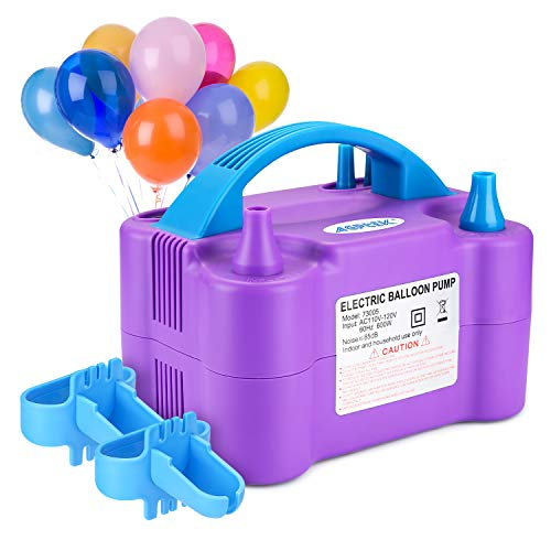 AGPtek Bomba Eléctrica, Bomba Eléctrica para Inflar Globos, Inflador/Soplador Portátil de Doble Boquilla para Decoraciones en Fiestas, Bodas - 110V 600W, Violeta