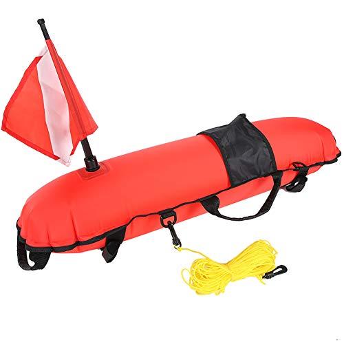Oumij Bola de Flotación de Señal de Boya de Torpedo de Inflación de Buceo Flotador de Torpedo de Nylon con Bandera de Buceo