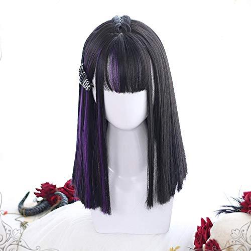 Perruque Femmes Lady Lolita 40cm demi-Ombre Noir Mixte Violet Bangs Bob Lisse Moyen synthétique Parti cosplay perruque Postiches