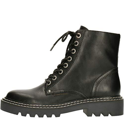 BULLBOXER Damen Stiefel, Frauen Schnürstiefel,Boots,Combat Boots,Schnürung, Boots Combat schnürung Freizeit,Schwarz,39 EU / 6 UK