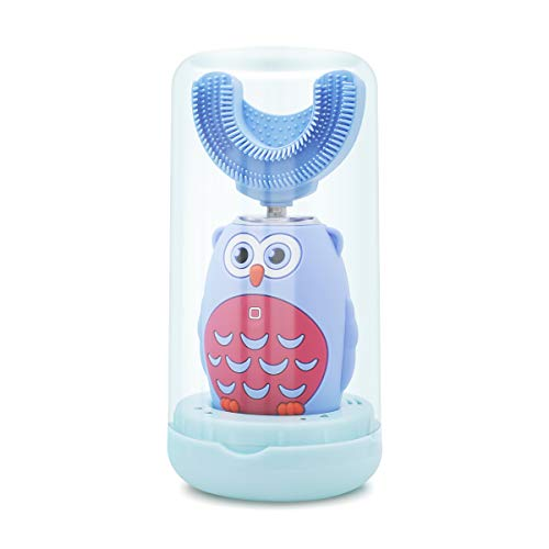 Automatic Electric Toothbrush Kids U Shaped with Intelligent Voice, Wireless Rechargeable Auto Brush 360° Whitening Toothbrushes 3 Modes for Children 2-6 Ages