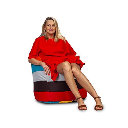 Ecopuf Sitzsack L Streifen - Outdoor und Indoor Polyester Bean-Bag mit Anti-Verlust Reißverschluss