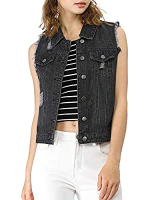 Allegra K Women's Turn Down Collar Button Closure Denim Washed Vest