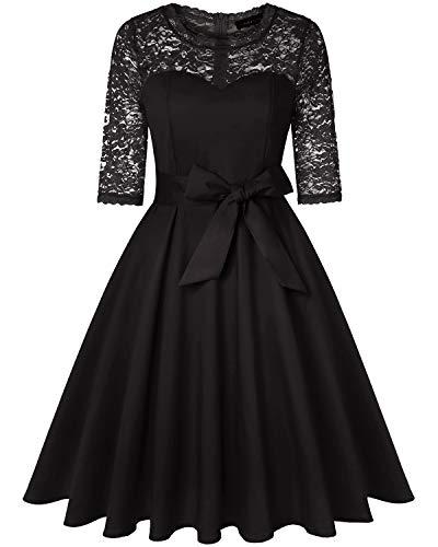 MINTLIMIT Rockabilly Kleider Damen A-Linie Party Kleider Sexy Elegant 50er Jahre Partykleider Schwarz XXL