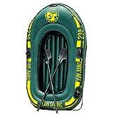 DreamYS ゴムボート 釣り ボート 2人乗り レジャー エアボート インフレータブル 超厚型 最大積載300kg 4気室構造 安全性抜群 工業PVC素材 190×115cm (グリーン)