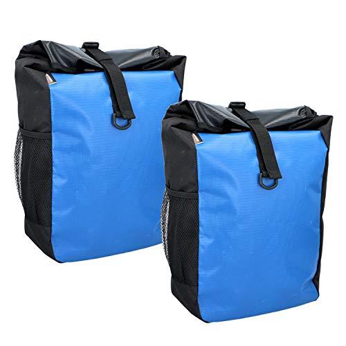 2X Dunlop Fahrrad Tasche Gepäckträgertasche Tragetasche Fahrradtasche Besfestigung am Gepäckträger (Blau)