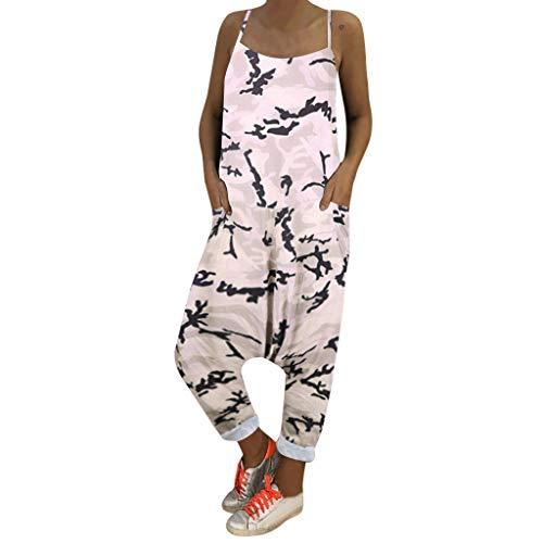 SHE.White Damen Tarnen Lose Jumpsuits Sommer Schlinge Kalte Schulter Latzhose Overall V-Ausschnitt Strand Party Lange Hosen mit Taschen Latzhose S-2XL