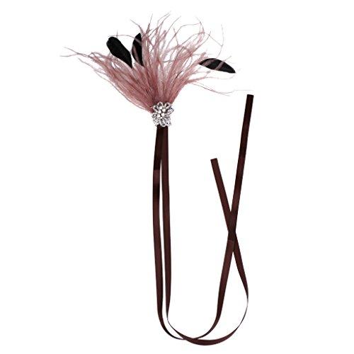 IPOTCH Bandeau En Cuir PU Vintage Great Style Flapper - Rose Marron
