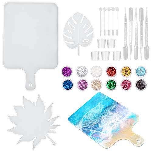 HONEYWHALE Kit di stampi in Resina epossidica, 30 PCS Stampi per sottobicchiere Vassoio Fai da Te con Paillettes Glitterate a 12 Colori per Gli Amanti del mestiere d'Arte