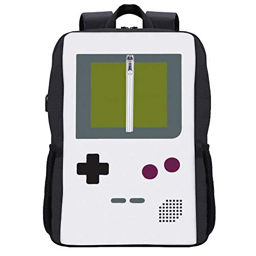 Gameboy Shirt-Rucksack, Tagesrucksack, Büchertasche, Laptoptasche, Schultasche, mit USB-Ladeanschluss