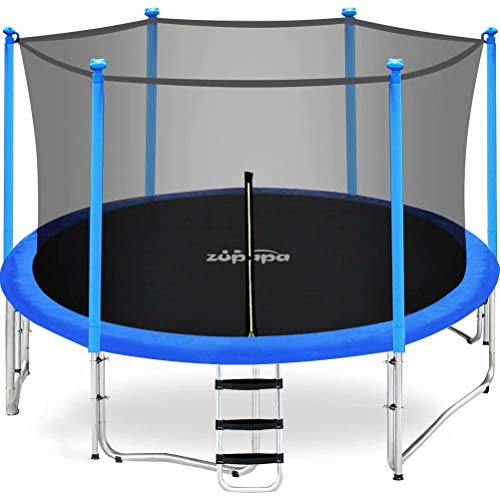 Zupapa 15 14 12 FT Trampoline with Enclosure Net for Kids Outdoor Trampoline 375LBS Weight Capacity with Rain Cover Non-Slip Ladder Backyard Trampoline Birthday Gift for Children