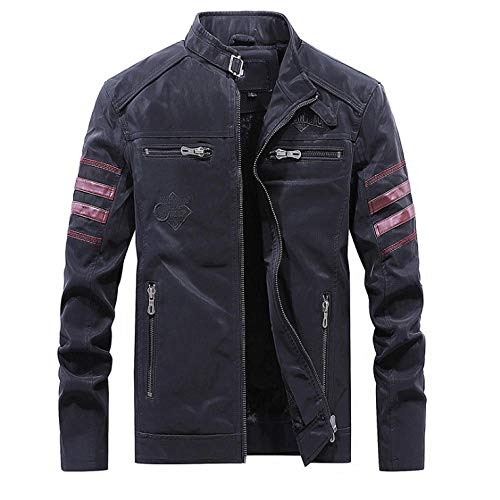 Dilusso Neue Retro Lederjacke Herren British Style Slim Fit Motorrad Lederjacke Classic Black Zipper Herren Lederjacken Coats-Black_M.