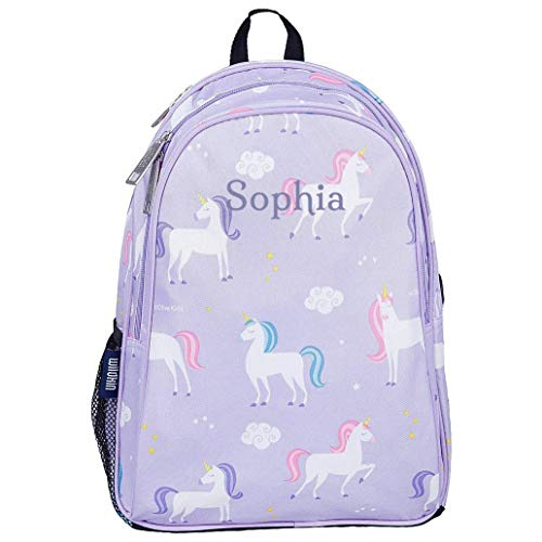 Personalised by Embroidery Unicorn Children's Backpacks | Unicorn Backpacks | Unicorn School Backpacks- Personalised | Girl's Kids Backpacks (Purple Unicorn)