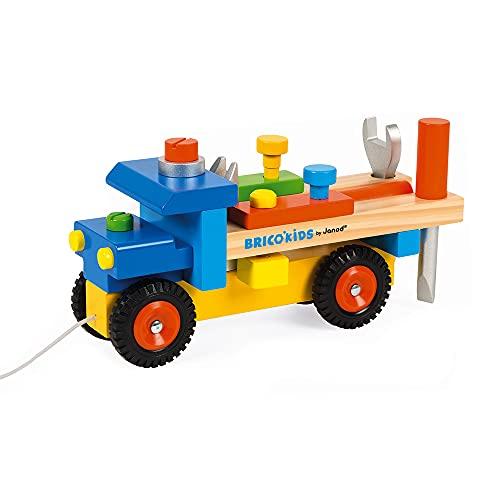 Janod - Brico\'Kids Lastwagen zum Selberbauen, 2-in-1-Spielzeug zum Ziehen und für frühkindliches Lernen, 3 Werkzeuge enthalten, fördert motorische Fähigkeiten, ab 2 Jahren, J05022