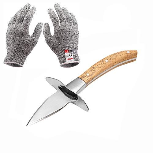 Home·FSN Austernmesser mit Level 5 Schnittfeste Handschuhe Set, Edelstahl Austernmesser Shucker Set Meeresfrüchteöffner Kit Werkzeuge