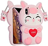Galaxy A20 / A30 Pig Cat Phone Case,3D Cartoon Animal Character Design Cute Soft Silicone Kawaii Cover,Cool Cases for Kids Boys Girls (Pink,for Samsung A20 / A30)