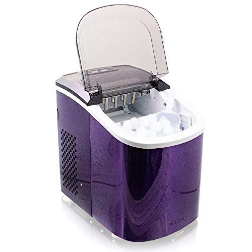 Eiswürfelmaschine Edelstahl Eiswürfelbereiter Eiswürfel Ice Maker Eis Maschine Icemaker (Violett)