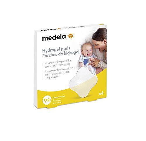 Medela Parches de hidrogel - Alivio y enfriamiento instantáneo para pezones doloridos, reutilizables, paquete de 4 almohadillas estériles envueltas individualmente
