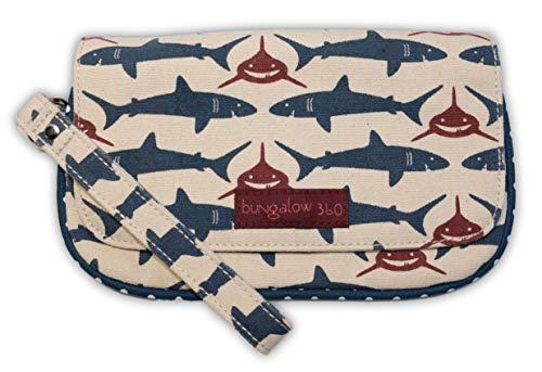 Bungalow 360 Vegan Natural Canvas Wristlet (Shark)