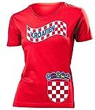 Kroatien Croatia Hrvatska Fan t Shirt Artikel 3196 Fuss Ball EM 2020 WM 2022 Team Trikot Look Flagge Fahne lopta nogomet Frauen Damen Mädchen XXL