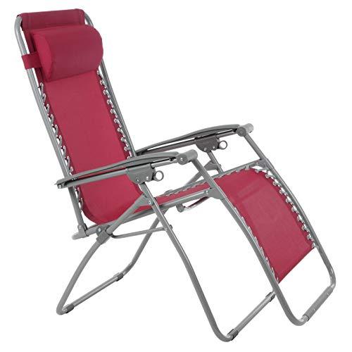 Azuma Zero Gravity Reclining Relaxer Chair Multi Position Garden Outdoor Patio Sunlounger (Texteline Persian Red)