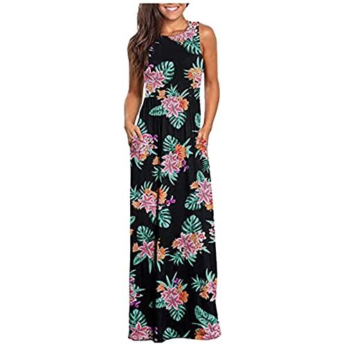 TYTUOO Vestido largo suelto para mujer, sin mangas, vestido estampado casual, vestido de playa con bolsillos