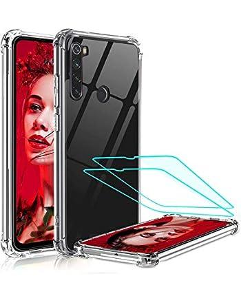 LeYi Funda Xiaomi Redmi Note 8 con [2-Unidades Cristal Vidrio Templado], Cristal Transparente Shockproof Carcasa Silicona PC y TPU Slim Bumper Antigolpes Cover Case para Movil Note 8, Clear
